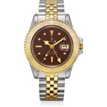 ROLEX - A yellow gold and stainless steel dual time wristwatch with sweep centre seconds, date, nipple dial and bracelet, Circa 1972