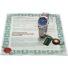 ROLEX - A white gold, stainless steel and diamond-set wristwatch with sweep centre seconds, date, sodalite hardstone dial and bracelet, Circa 2000