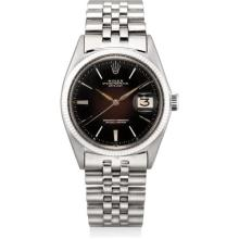 ROLEX - A fine and rare white gold wristwatch with sweep centre seconds, date, tropical black lacquer dial and bracelet, Circa 1963