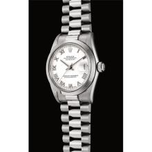 ROLEX - A fine platinum mid-size wristwatch with sweep centre seconds, date and bracelet, Circa 1997