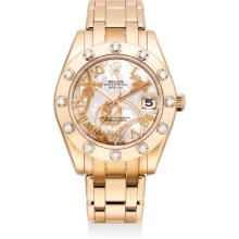 ROLEX - A fine and unusual pink gold and diamond-set wriswatch with sweep centre seconds, date, mother-of-pearl dial and bracelet, Circa 2010
