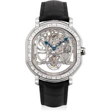DANIEL ROTH - A fine and rare white gold and diamond-set limited edition tonneau-shaped skeletonized tourbillon wristwatch, Circa 1995