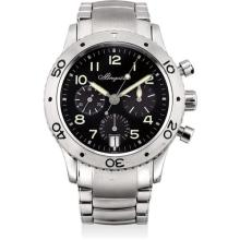 BREGUET - A stainless steel flyback chronograph wristwatch with date and bracelet, Circa 2001