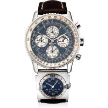 BREITLING - A rare and unusual platinum limited edition perpetual calendar dual time chronograph wristwatch with moon phases, season indicator, 24 hours, 52 weeks display, original certificate and fitted presentation box, Circa 1999