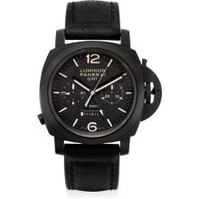 PANERAI - A fine and rare black ceramic limited edition cushion-shaped single button chronograph dual time wristwatch with 8 day power reserve and day and night indicator, 2009