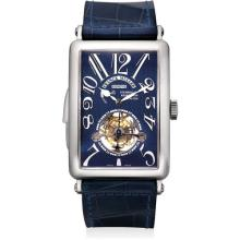 FRANCK MULLER - A fine platinum minute repeating tourbillon rectangular wristwatch with power reserve indicator and blue enamel dial, Circa 2005