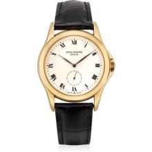 PATEK PHILIPPE - A fine yellow gold wristwatch with enamel dial, 2003