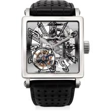 ROGER DUBUIS - A fine and rare white gold limited edition skeletonised tourbillon square wristwatch, Circa 2008
