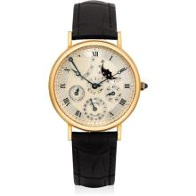 BREGUET - A fine yellow gold perpetual calendar wristwatch with power reserve, moon phases and leap year indicator, Circa 1995