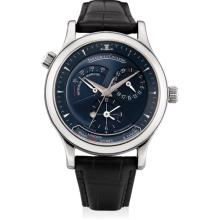 JAEGER LECOULTRE - A platinum limited edition dual and world time wristwatch with sweep centre seconds, date, power reserve and day and night indicator, Circa 1998