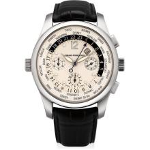 GIRARD-PERREGAUX - A white gold worldtime chronograph wristwatch with date and 24 hours, Circa 2005