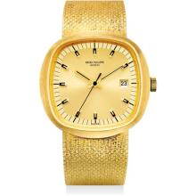 PATEK PHILIPPE - A fine and rare yellow gold cushion-shaped electronic bracelet watch with sweep centre seconds, date and two-tone champagne dial, 1971