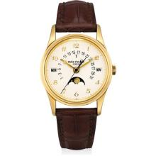 PATEK PHILIPPE - A fine and rare yellow gold perpetual calendar wristwatch with sweep centre seconds, retrograde date, moon phases, leap year indicator, special dial with Breguet numerals, additional case back and original certificate, 2008