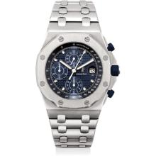 AUDEMARS PIGUET - A fine, rare and heavy stainless steel limited edition chronograph bracelet watch with date, made to commemorate the 20th anniversary of the Royal Oak Offshore in 2013, Circa 2013
