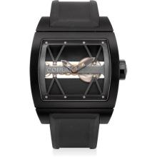 CORUM - A black PVD-coated titanium skeletonised tonneau-shaped wristwatch with speakers and leather travel bag, numbered 1 of a limited edition 250 pieces, Circa 2009