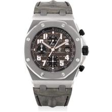 AUDEMARS PIGUET - A fine and rare sandblasted titanium chronograph wristwatch with date, leather travel bag, paperweight and ballpoint pen, made for Chronopassion, numbered 1 of a limited edition of 50 pieces, Circa 2008
