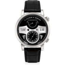 A. LANGE & SÖHNE - A very fine and rare white gold quarter-hour and full-hour striking wristwatch with digital time display, power reserve, hack feature, original certificate and fitted presentation box, Circa 2014