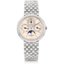 VACHERON CONSTANTIN - A fine and rare platinum and diamond-set perpetual calendar bracelet watch with moon phases and leap year indicator, 1995