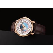 VACHERON CONSTANTIN - A fine and rare pink gold worldtime wristwatch with sweep centre seconds and 24 hours, Circa 2017