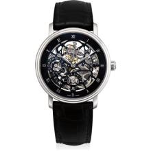 BLANCPAIN - A fine and rare platinum skeletonised tourbillon wristwatch with date and power reserve, Circa 2012