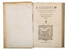 Aesopus. Fabellae graece et latine, Cum aliis opusculis... (Al colophon:) Venetiis: apud Petrum & Io. Mariam & Cornelium eorum nepotem Nicolinos Sabienses, 1549