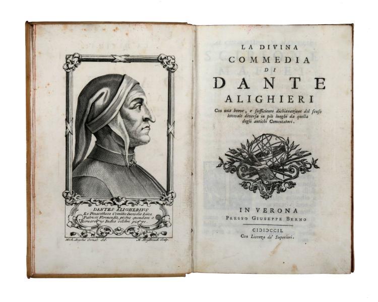 Alighieri Dante. La Divina Commedia... In Verona: Presso Giuseppe Berno, 1749