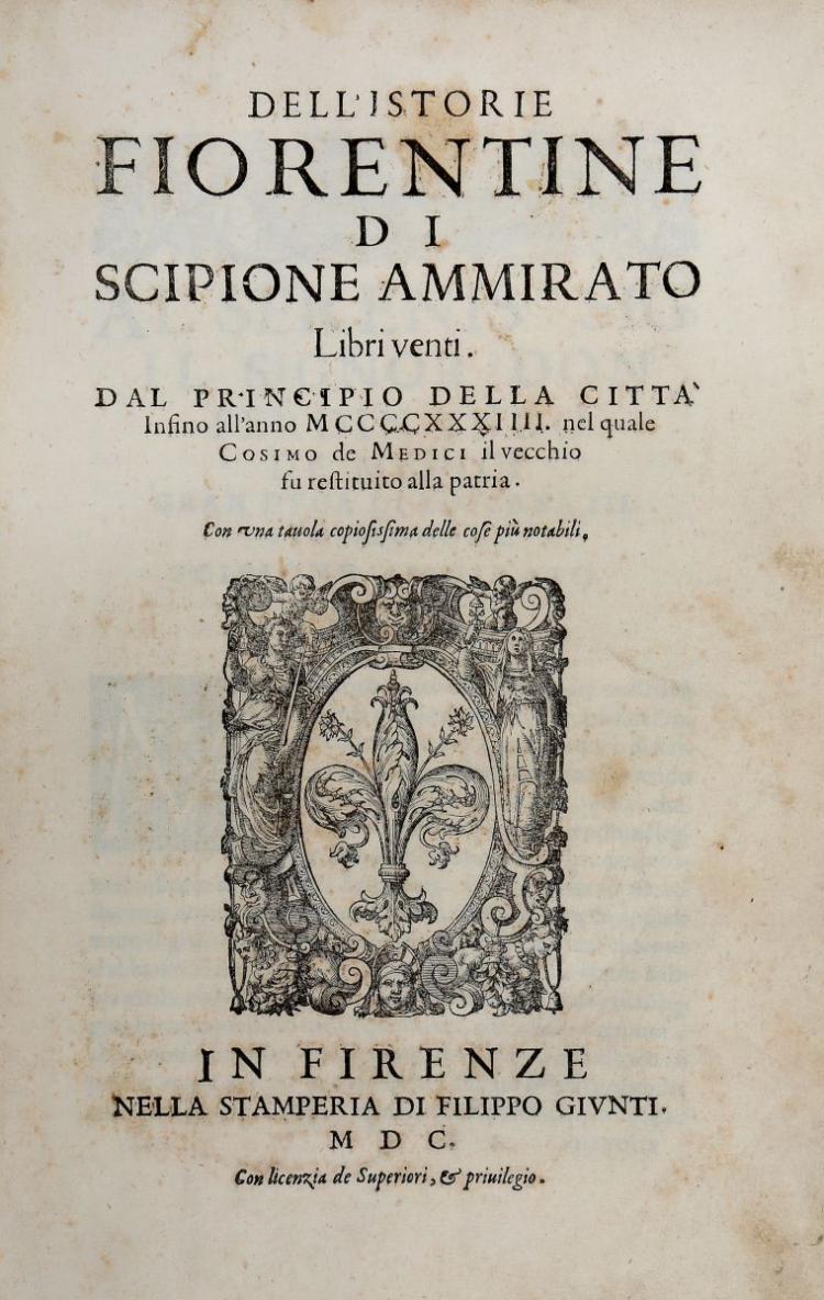 Ammirato Scipione. Dell'Istorie Fiorentine... Libri venti... In Firenze: Nella Stamperia di Filippo Giunti, 1600