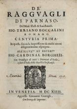 Boccalini Traiano. De Ragguagli di Parnaso... Centuria Prima [-Seconda]... In Venetia: Appresso Giovanni Guerigli, 1614