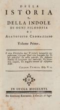 Buonafede Appiano. Della istoria e della indole di ogni filosofia di Agatopisto Cromaziano, Riccomini Giovanni, Lucca, 1766.