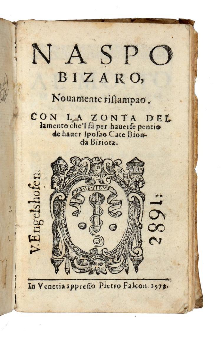 Caravia Alessandro. Naspo Bizaro, Novamente ristampao... In Venetia: appresso Pietro Falcon, 1578