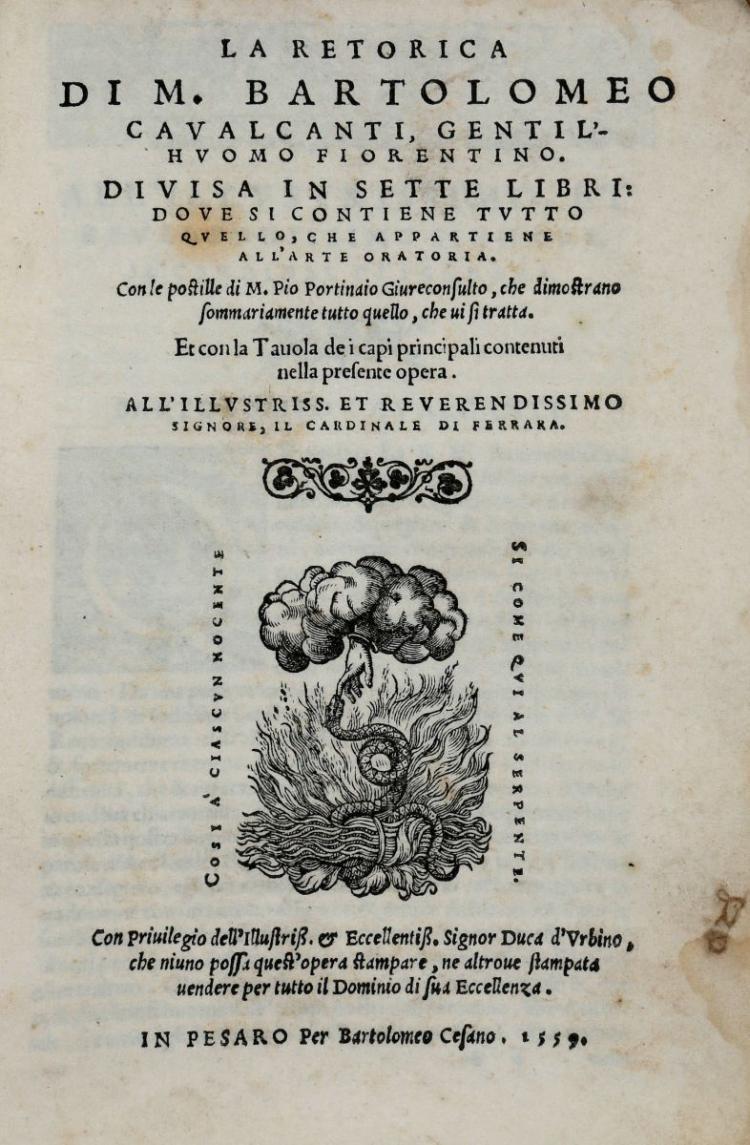 Cavalcanti Bartolomeo. La Retorica... In Pesaro: Per Bartolomeo Cesano, 1559