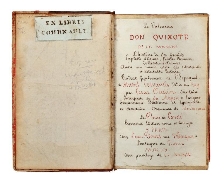 Cervantes Saavedra Miguel (de). Le Valeureux Don Quixote de la Manche... [A Paris: Jean Fouet, 1620]
