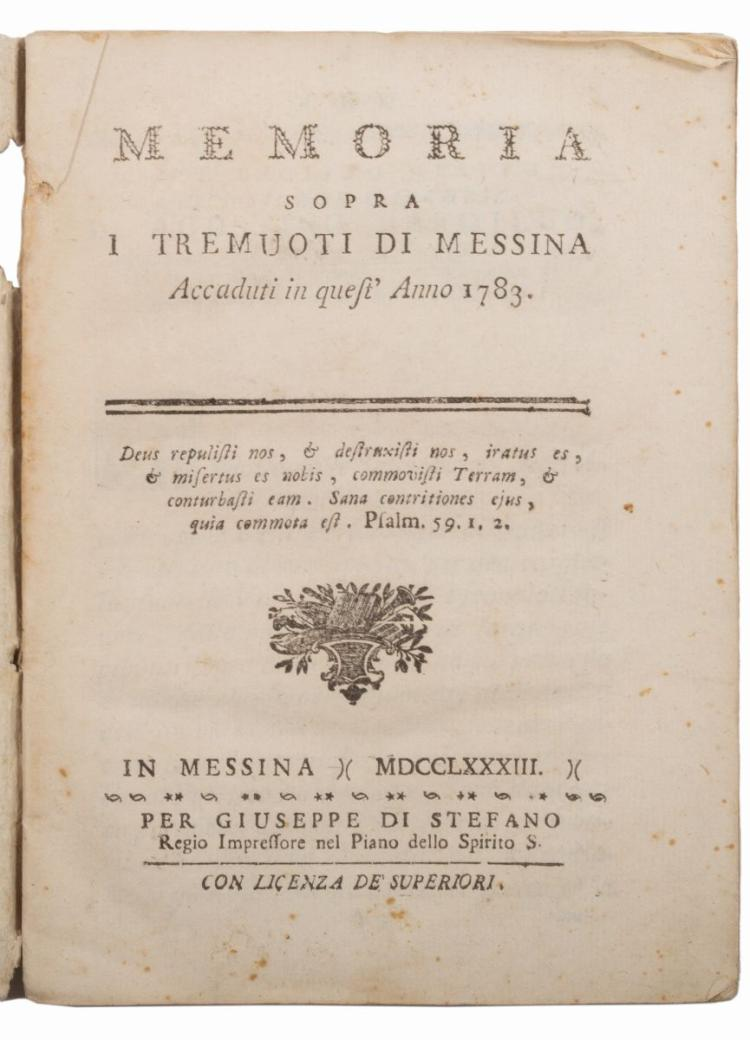 Corrao Alberto. Memoria sopra i tremuoti di Messina... In Messina: Per Giuseppe Di Stefano, 1783