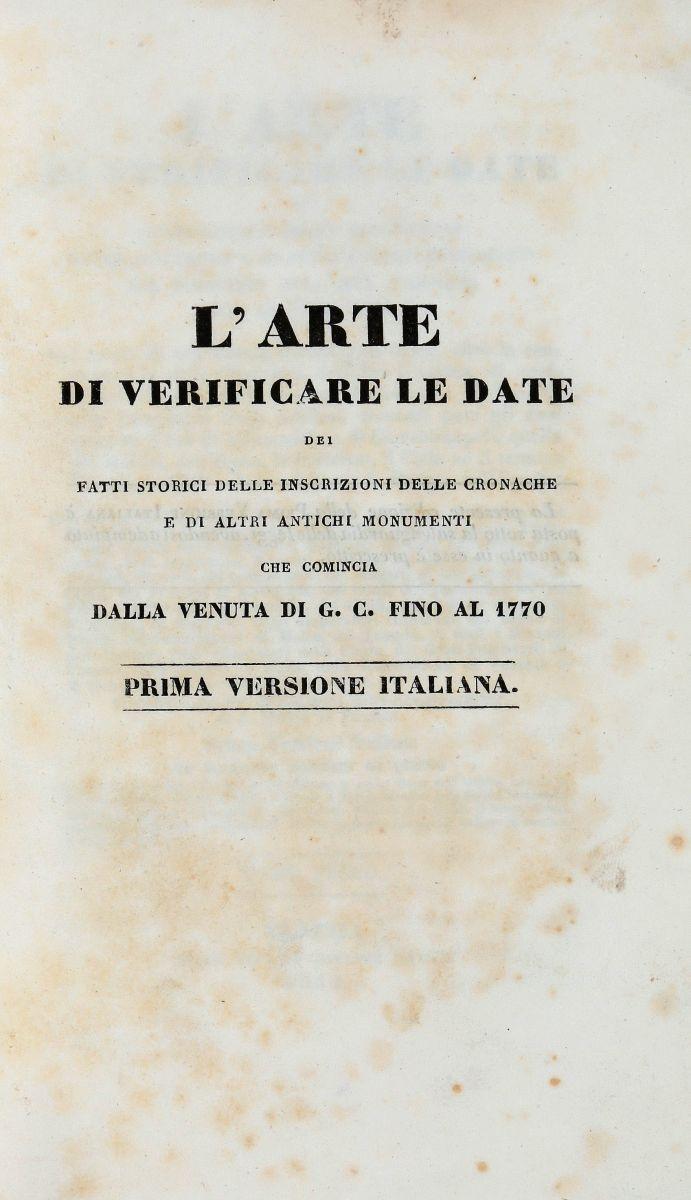 Courcelles Jean-Baptiste-Pierre (de). L'Arte di verificare le date...Venezia: Dalla Tipografia di Giuseppe Gattei, 1832-1846