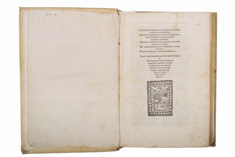 Crastone Giovanni. Dictionum Graecarum thesaurus copiosus quantum nunquam antea... (Al colophon:) Ferrariae: per Ioannem Maciochium Bondenum, 1510
