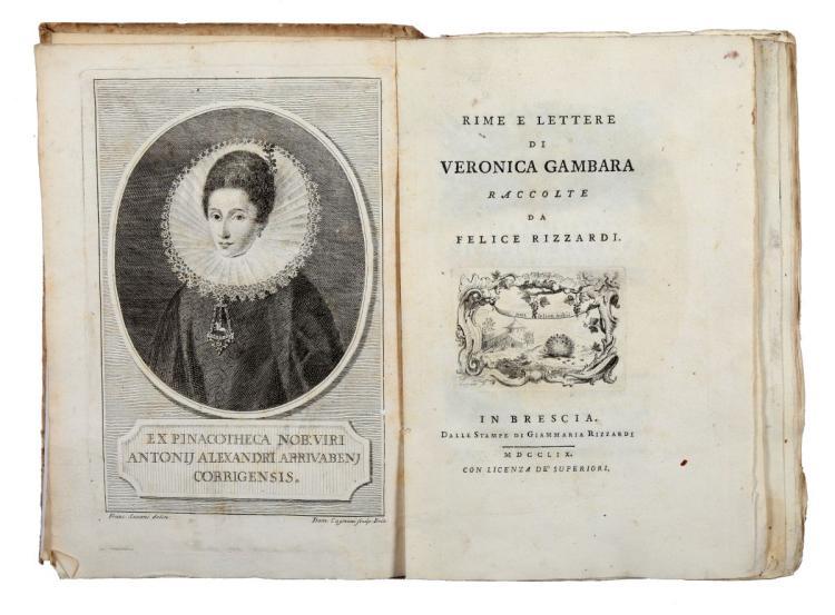 Gambara Veronica. Rime e lettere... In Brescia: dalle stampe di Giammaria Rizzardi, 1759