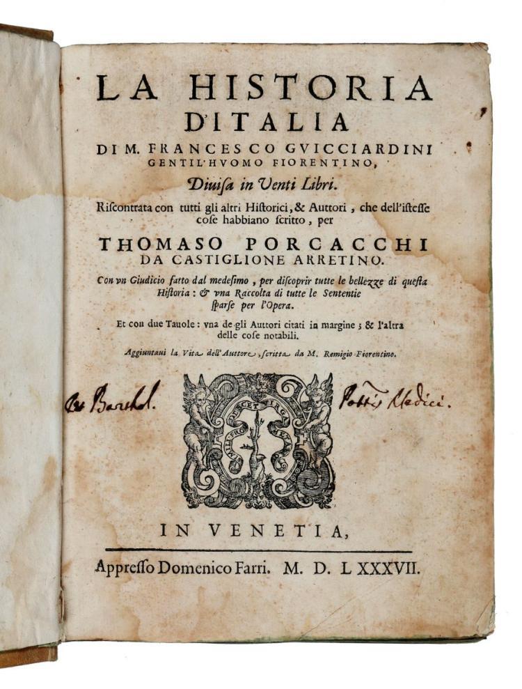 Guicciardini Francesco. La Historia d'Italia... Venezia: appresso Domenico Farri, 1587
