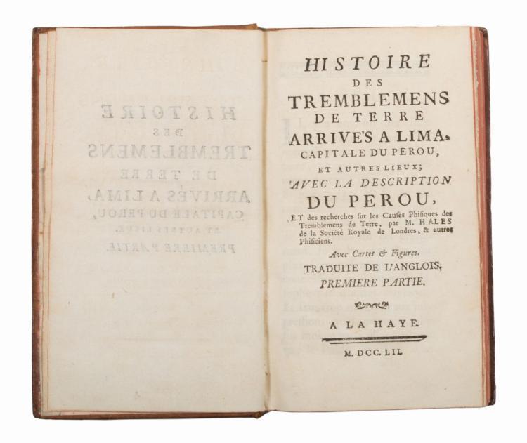 Hales Stephen. Histoire des tremblemens de terre arrives a Lima... A La Haye, 1752