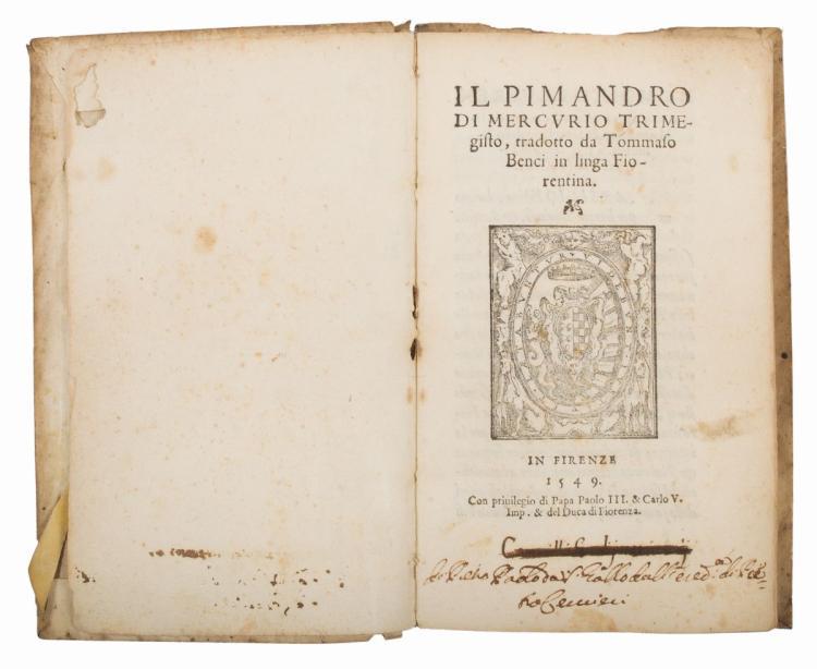 Hermes Trismegistus. Il Pimandro di Mercurio Trimegisto... In Firenze: [Lorenzo Torrentino], 1549