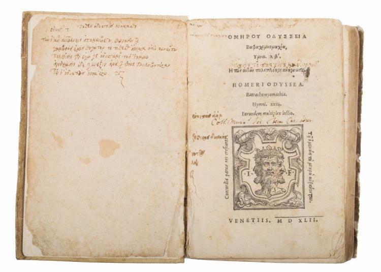 Homerus. Omerou Odysseia Batrachomyomachia, Ymnoi... (Al colophon:) Venetiis: apud Ioannem Farreum, & fratres, 1542