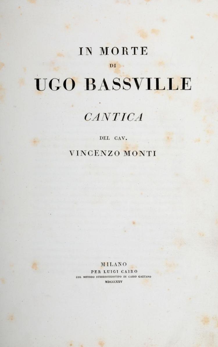 Lancetti Vincenzo. Italia Incoronata... (Al colophon:) Dalla Tipografia di Giuseppe Borsani e Comp. sul Corso di Porta Orientale, s.d. [ma 1805 ca.]