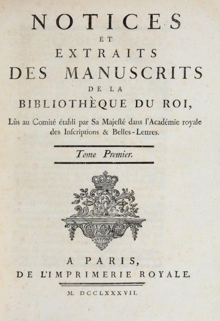 Manoscritti. Notices et extraits des manuscrits de la Bibliothéque du Roi... A Paris: de l'Imprimerie Royale, 1790