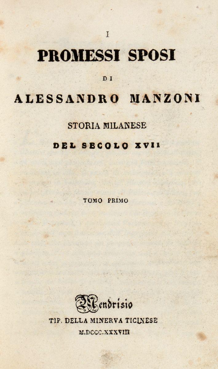 Manzoni Alessandro. I promessi sposi... Mendrisio: Tip. della Minerva ticinese, 1838