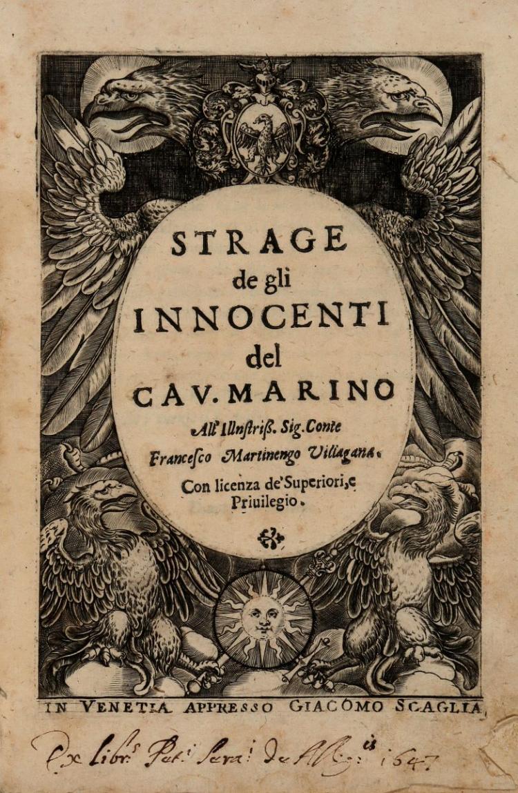 Marino Giovan Battista. Strage degli innocenti... (Al colophon:) In Venetia: presso Giacomo Scaglia, 1633