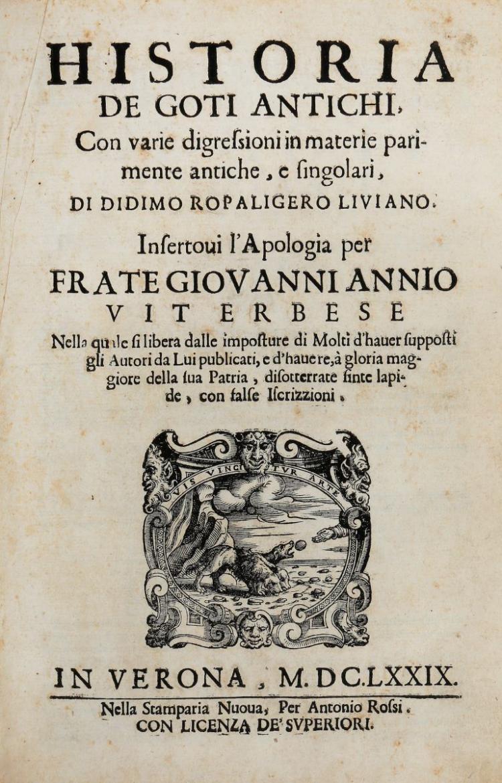 Mazza Tommaso. Historia de Goti antichi... In Verona: Nella Stamparia Nuova, Per Antonio Rossi, 1679
