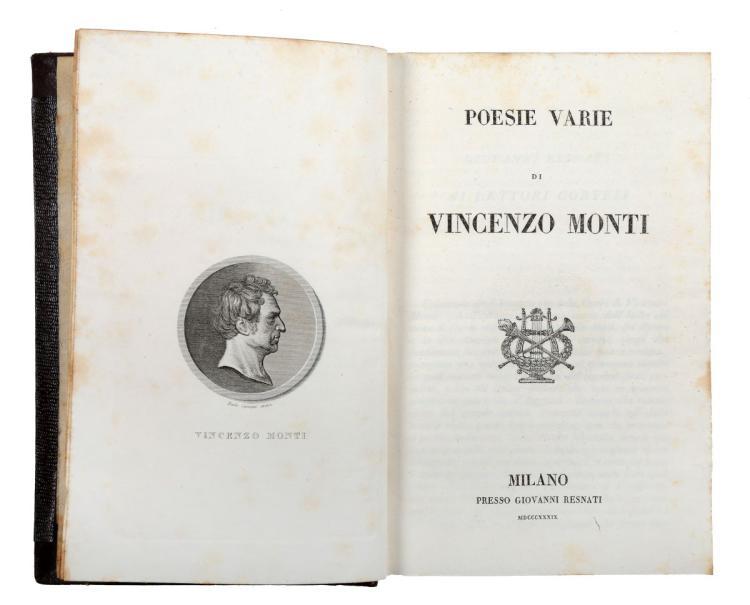 Monti Vincenzo. Poesie Varie... Milano: Presso Giovanni Resnati, 1839