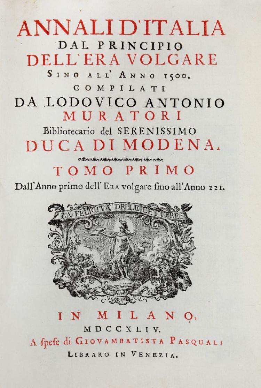Muratori Lodovico Antonio. Annali d'Italia... Tomo Primo [-Duodecimo]. In Milano: A spese di Giovambatista Pasquali, 1744-1749