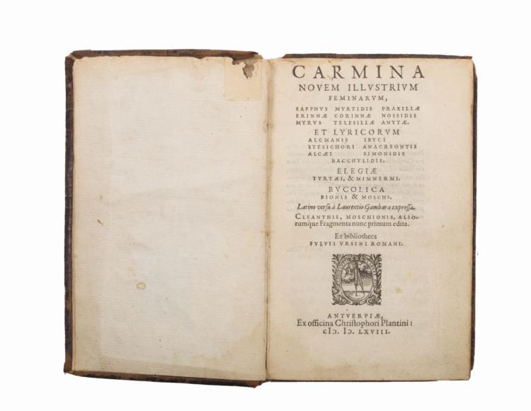 Orsini Fulvio. Carmina novem illustrium feminarum, Sapphus Myrtidis... Antverpiae: Ex officina Christophori Plantini, 1568