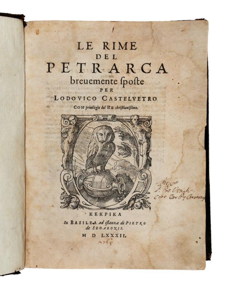 Petrarca Francesco. Le rime... In Basilea: ad istanza di Pietro de Sedabonis, 1582