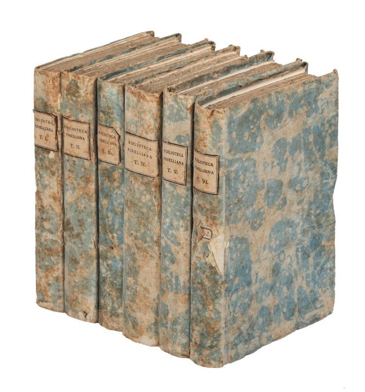 Pinelli Maffeo - Morelli Jacopo. Bibliotheca Maphaei Pinellii... Tomus primus [-sextus]. Venetiis: typis Caroli Palesii: veneunt exemplaria apud Laurentium Basilium, 1787
